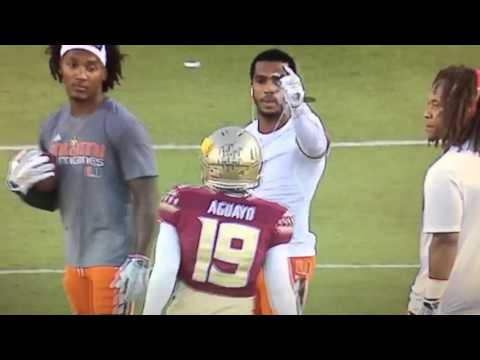 Canes Players Gang Up On FSU Kicker Roberto Aguayo Because He Was Practicing On Their Side Of The Fi