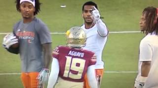 Canes Players Gang Up On FSU Kicker Roberto Aguayo Because He Was Practicing On Their Side Of The Fi thumbnail