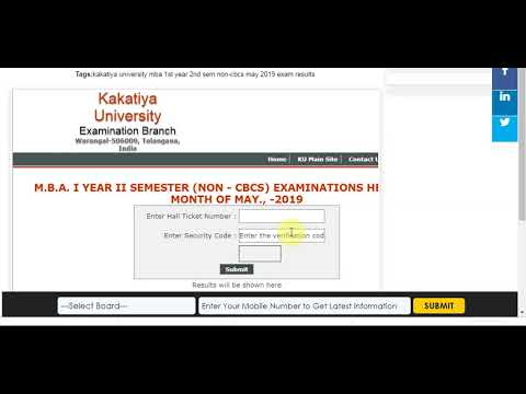 Kakatiya University MBA 1st Year 2nd Sem Non-CBCS May 2019 Exam Results