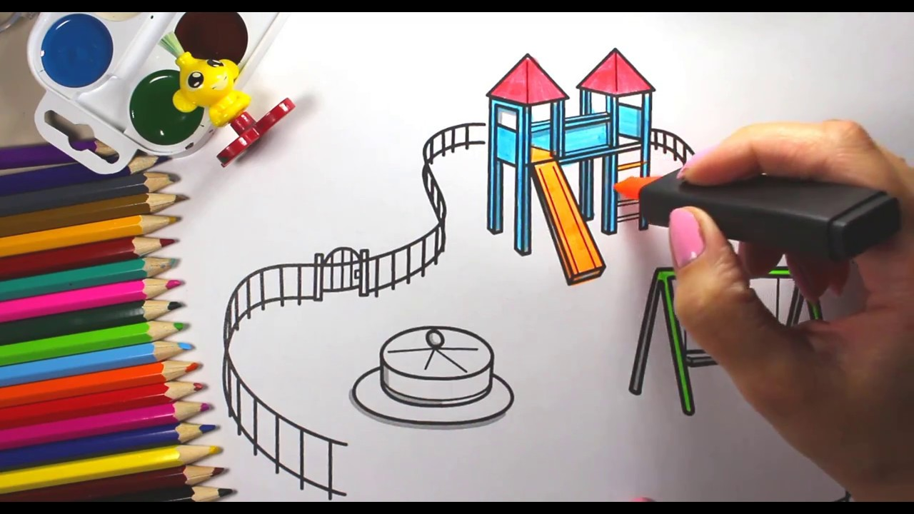 Uncategorized Kids Drawing Videos how to draw playground for kids children coloring book videos hd