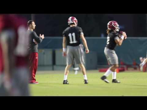 Alabama football practices with Steve Sarkisian