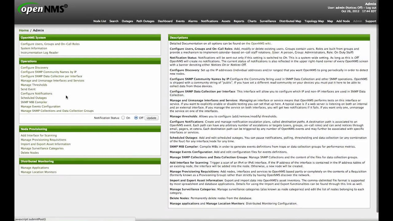 OpenNMS User Interface for Events Configuration and SNMP Performance  Metrics