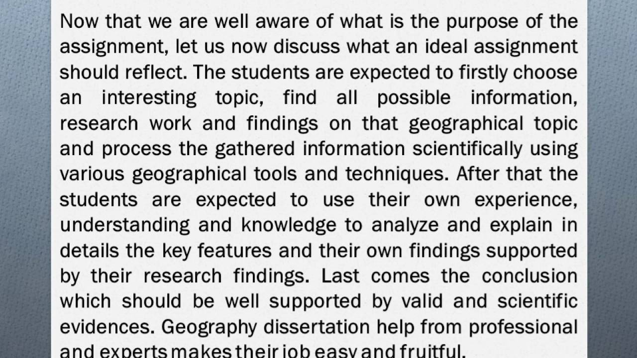 Do dissertation geography