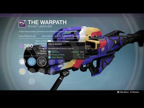 Destiny 1, Vendor & Faction Weapons (12-17-19)