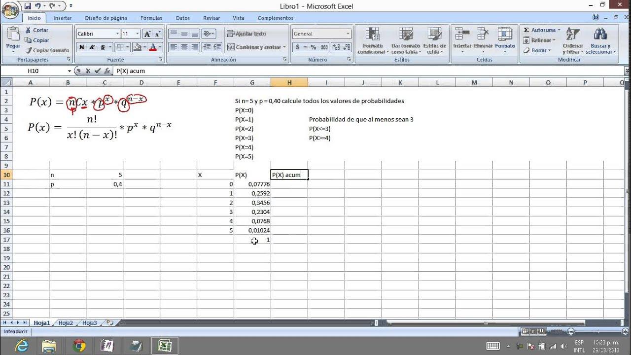 Distribución Binomial en Excel (fórmula DISTR.BINOM) - YouTube
