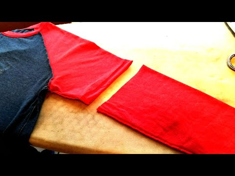 How to make a long sleeve shirt shorter