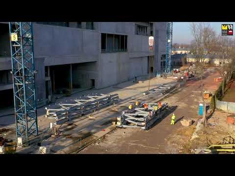 Montaż dachu na budowie Muzeum Historii Polski (LISTOPAD 2020), przyszła siedziba MHP
