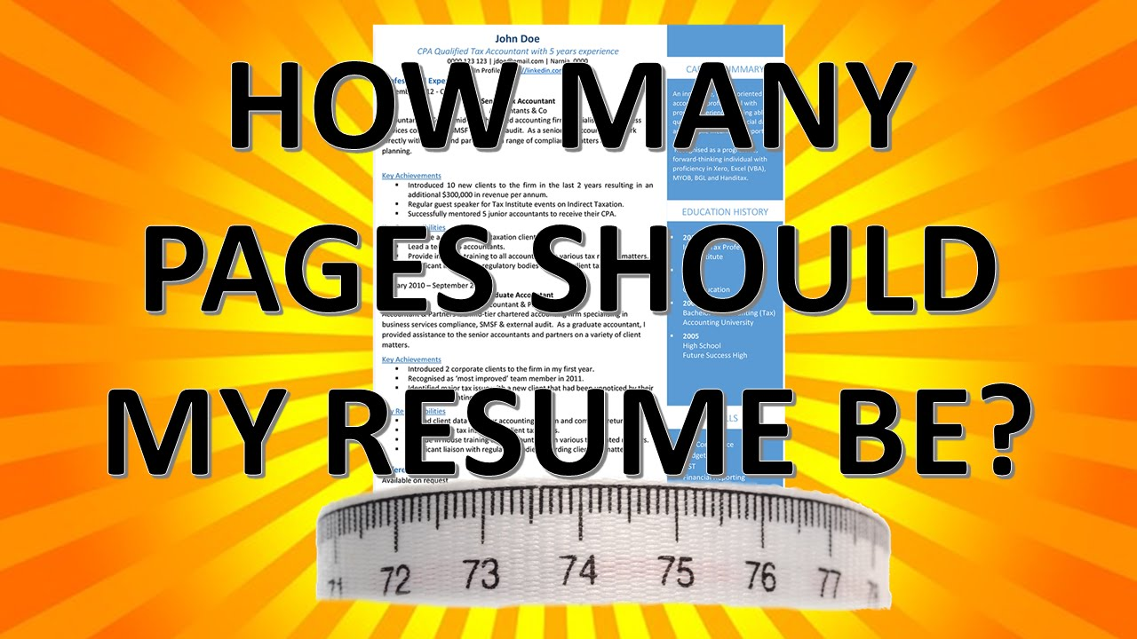 resume writing how many pages should my resume be youtube