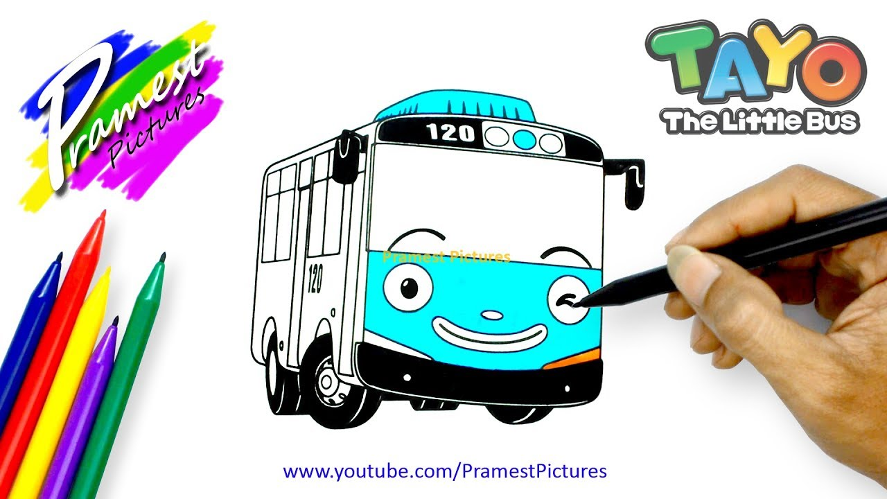 How To Draw Tayo The Little Bus Coloring Pages For Kids