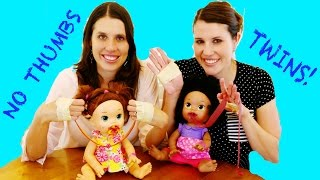 No Thumbs Challenge TWINS BATTLE TOY STYLE ~ No Thumbs Baby Alive Eating Barbie Dress Up Lego Duplo