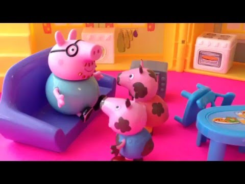 Peppa Pig Amp George Jump In Real Muddy Puddles Messy