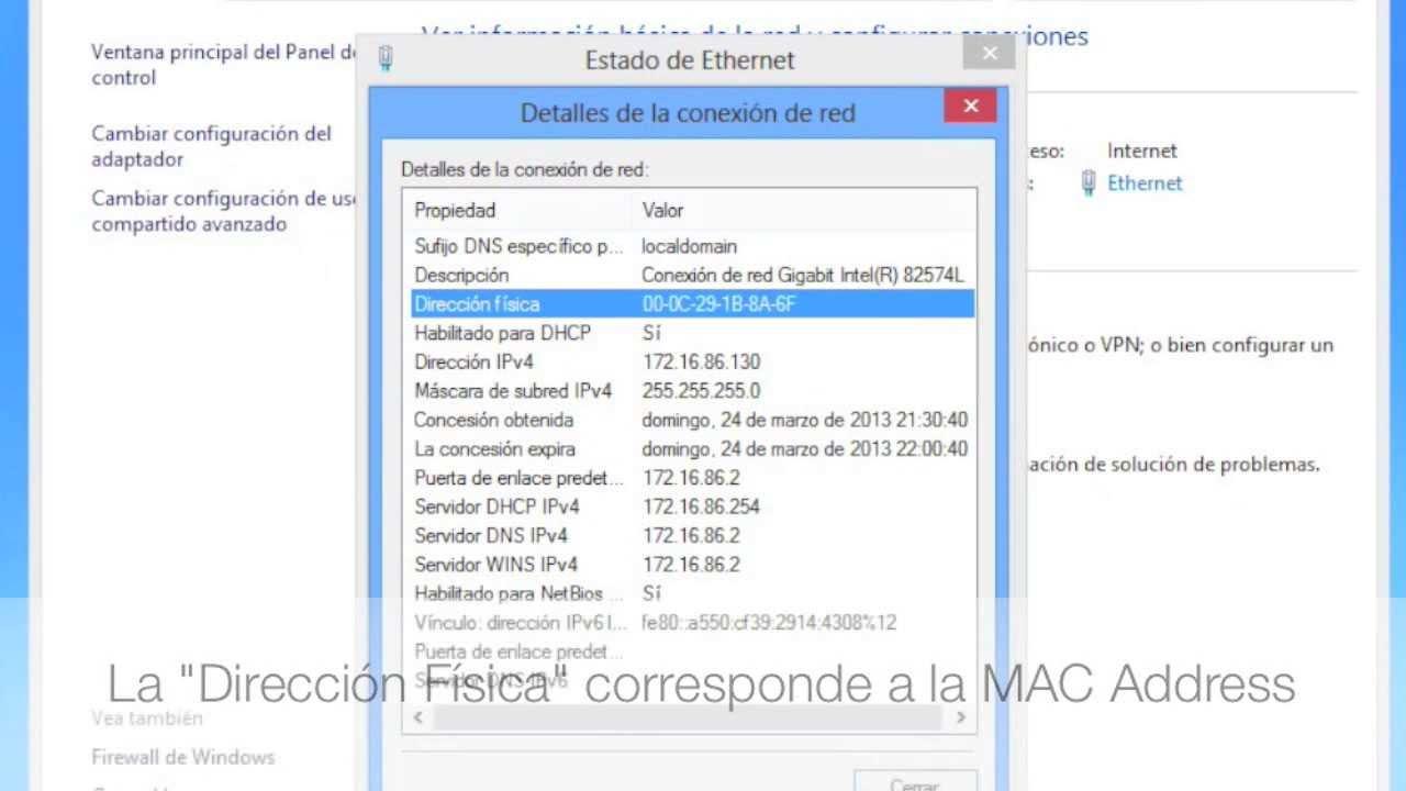 sacar direccion mac windows 8