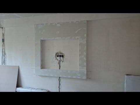 Рамка под TV, дизайн стен, монтаж гипсокартона . Plasterboard for TV.