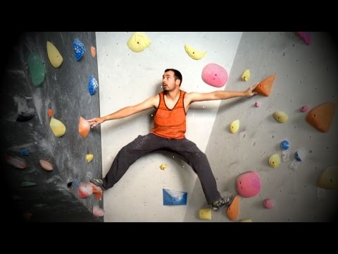 Climbing a V5 at LA Boulders