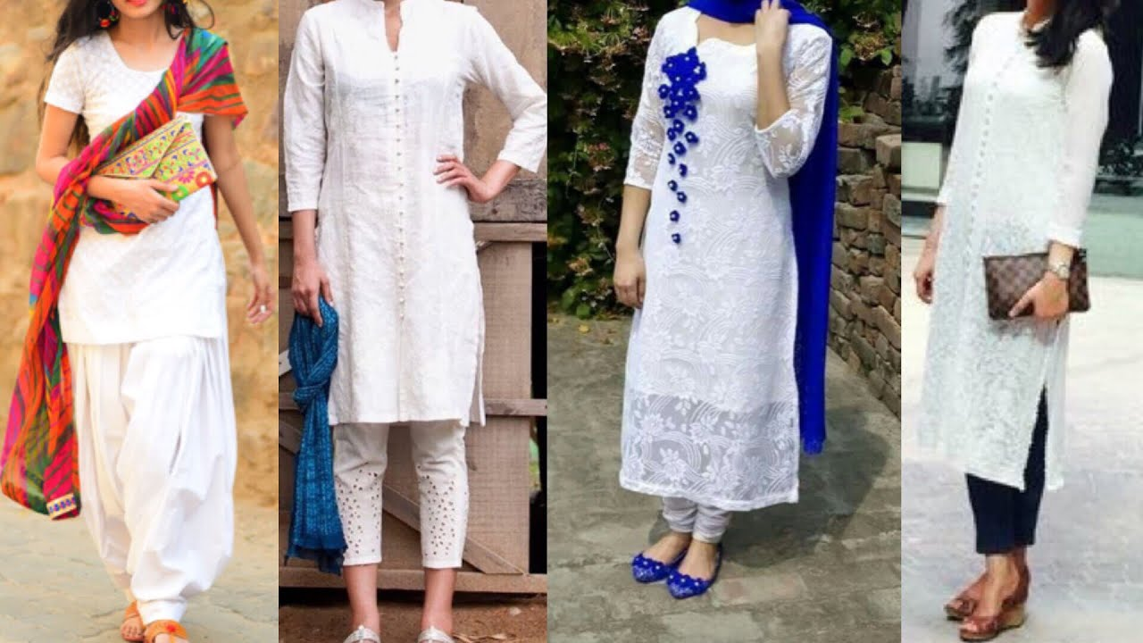 10c20a4786 Daily wear White kurta with Palazzo, pants,jeans ,Patiala ideas/simple  white kurta ideas for college
