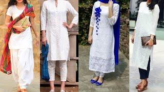 Daily wear White kurta with Palazzo, pants,jeans ,Patiala ideas/simple white kurta ideas for college