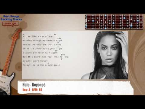 Halo - Beyoncé Guitar Backing Track with chords and lyrics
