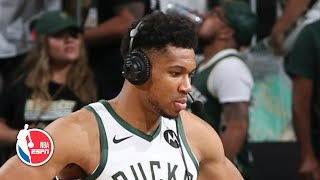 Giannis reacts to the Bucks' Game 4 win and Kyrie Irving's injury