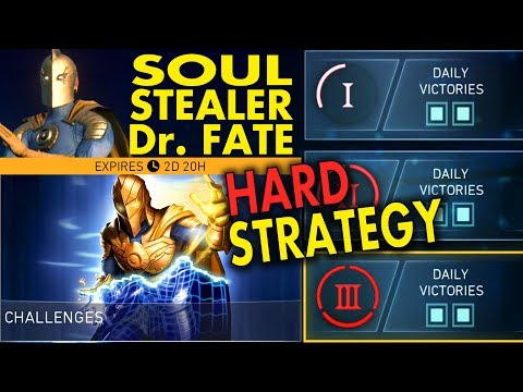 Injustice 2 Mobile. How to beat Soulstealer Dr. Fate Challenge. Perfect strategy (HARD)