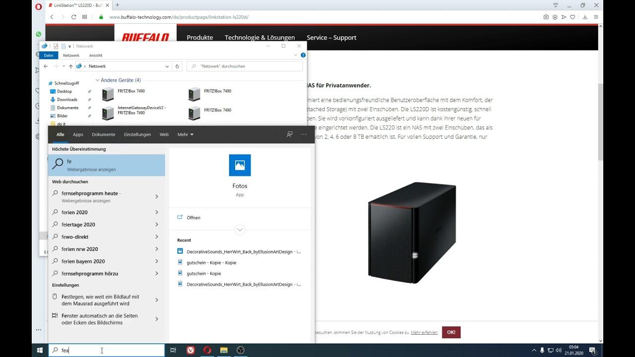 Buffalo LinkStation mit Windows 9 verbinden per Lan im Netzwerk