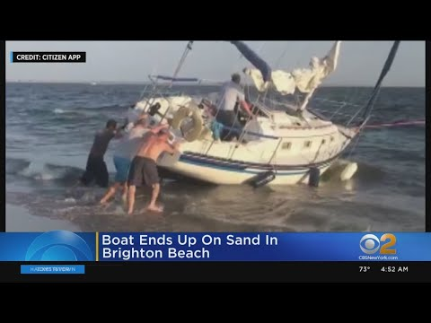 Sailboat Ends Up On Brighton Beach