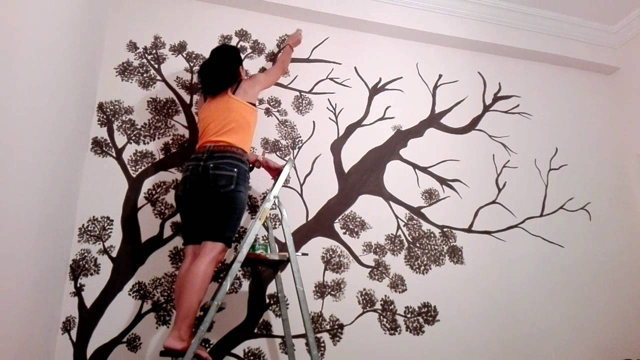 Wall Drawing Tree Wall Mural speed drawing YouTube