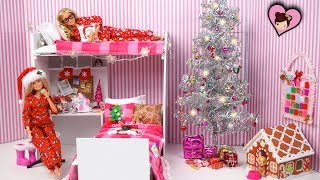Barbie Twins Decorate Their Pink  Bunk Bed Room for Christmas