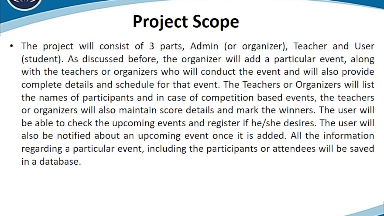 Online Event Management System Scope Presentation
