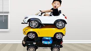 전동차 샀어요! 거대 택배 박스 개봉 전동 자동차 조립 벤츠 경찰차 어린이 장난감 놀이 Power Wheel Car Assembly