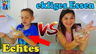 REAL FOOD VS. Disgusting FOOD - ECHTES ESSEN vs. EKLIGES ESSEN ! Family Fun Angie und Levis Kinder