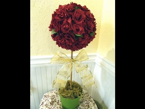 Make a topiary tree with ribbon roses, Valentine decoration