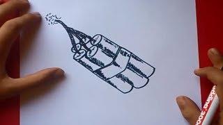Como dibujar cartuchos de dinamita paso a paso | How to draw dynamite