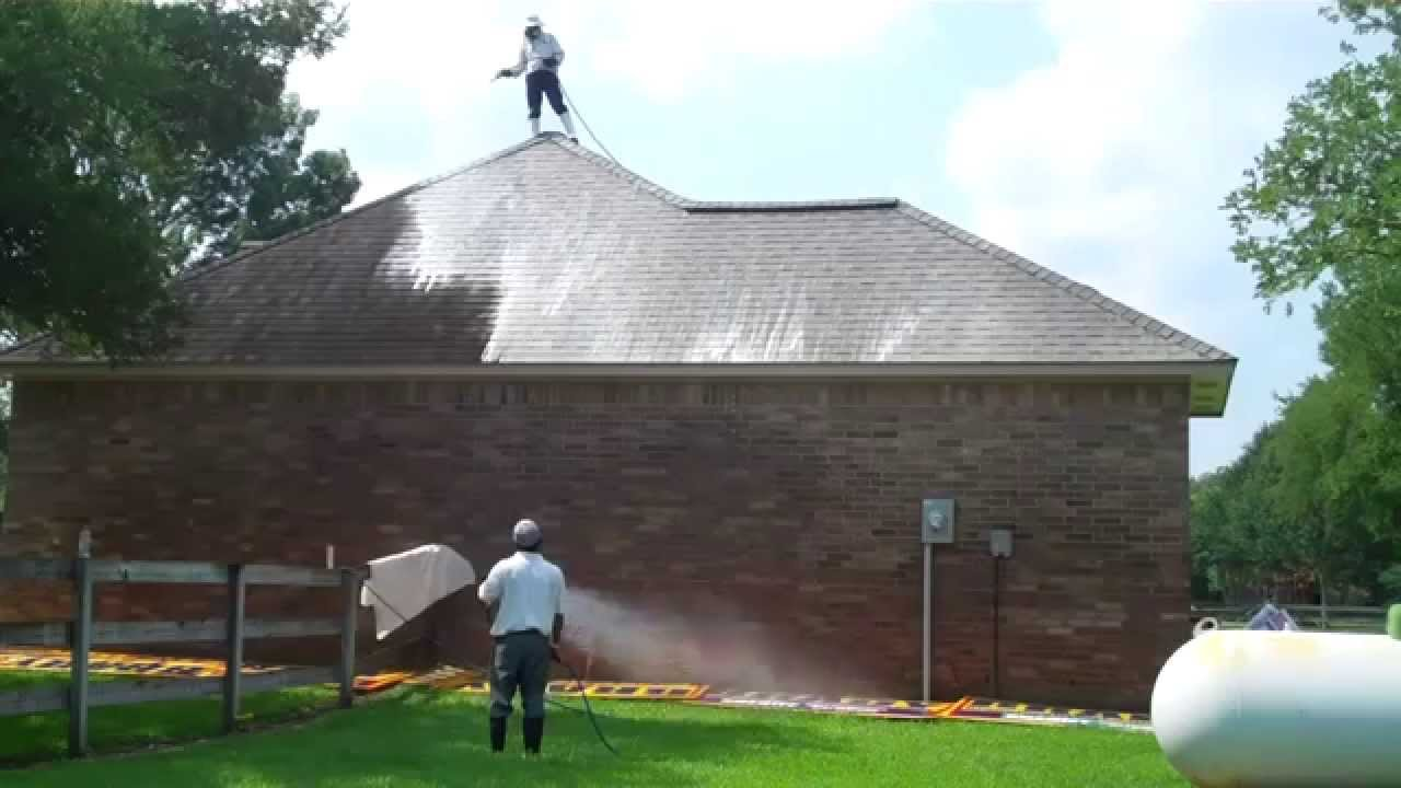 Roof Cleaning And Power Washing Of A House And Steep Composition Roof In  Richmond Tx