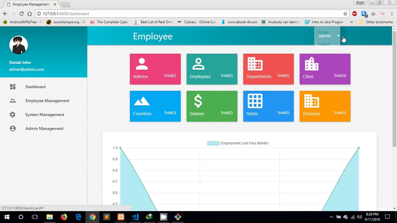 Free Project Employee management system Materialize and Laravel.
