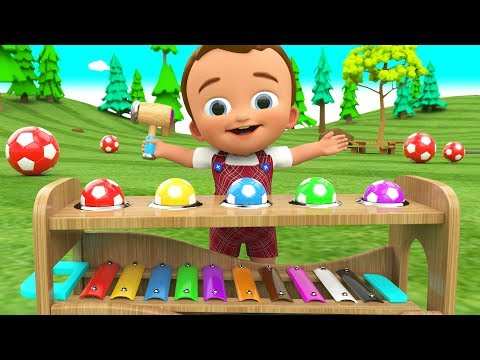 Little Ba Learning Colors for Children with Wooden Hammer SoccerBalls Xylophone Toy Set 3D Kids