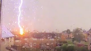 Moment lightning strikes house in Wales | UK weather