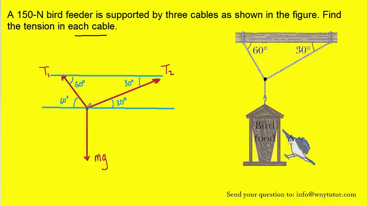 maxresdefault a 150 n bird feeder is supported by three cables as shown in the  at gsmportal.co