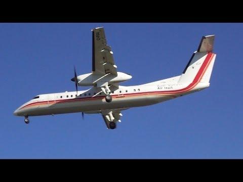 2x Air Inuit Dash 8-300 Landing RWY 24 At YQB (6-23-14)