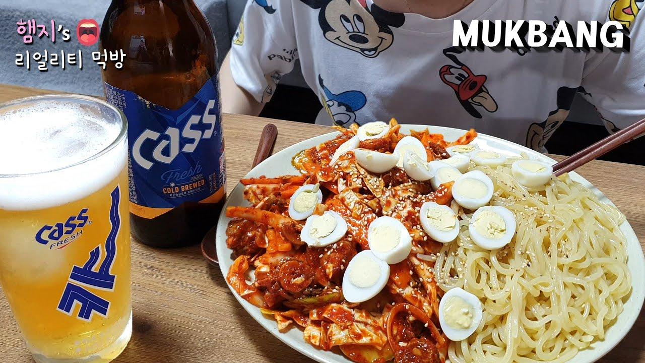리얼먹방:) 침샘자극🤤 골뱅이무침 & 쫄면 ★ 맥주는 카스!! ㅣGolbaengi-muchim & Cold BeerㅣREAL SOUNDㅣASMR MUKBANGㅣ