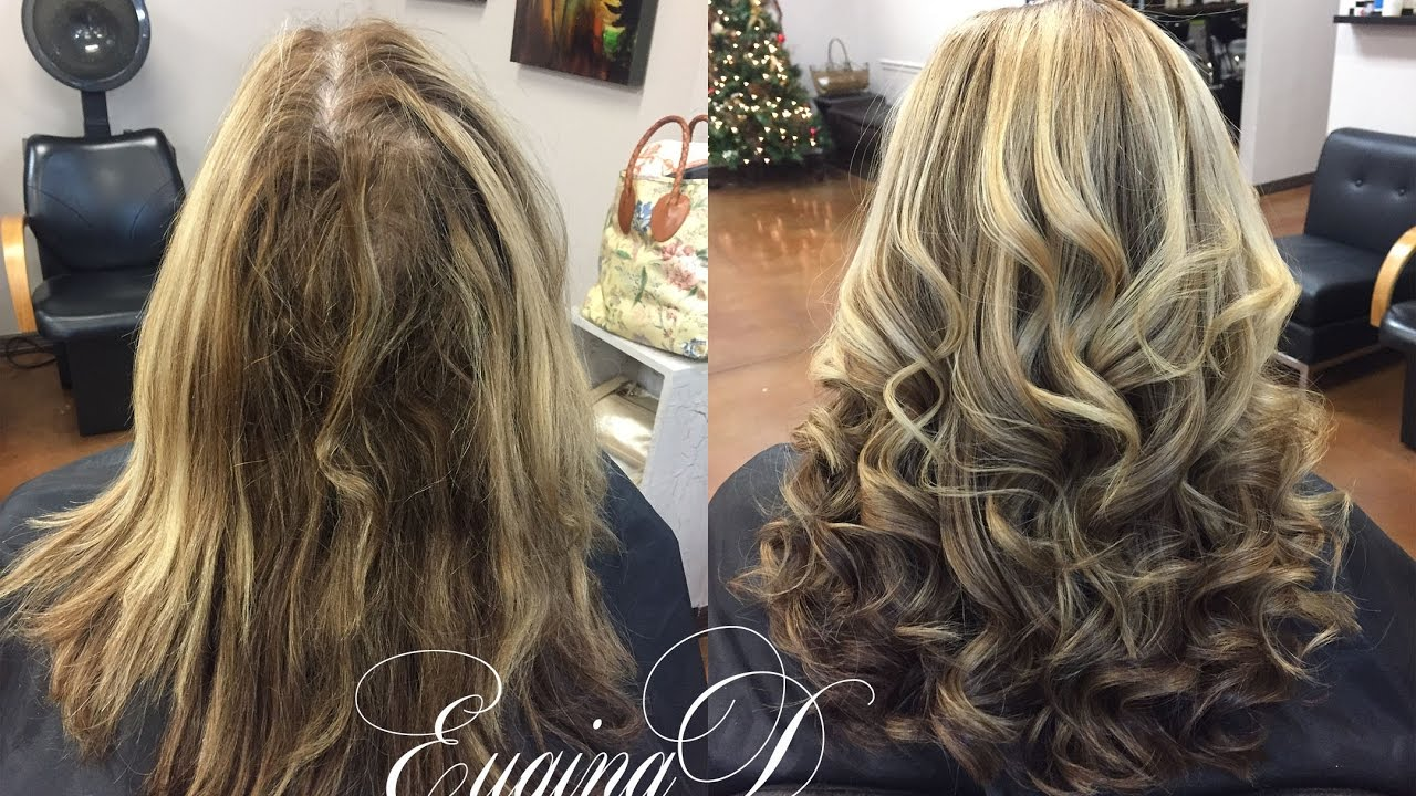 Color Retouch Partial Highlight Haircut Blowdry And Style Youtube