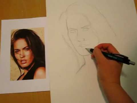 How To Draw People Faces Drawing Megan Fox S Face Youtube