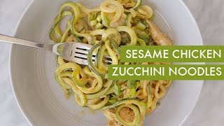 Sesame Chicken Zucchini Noodles I Spiralizer Recipe