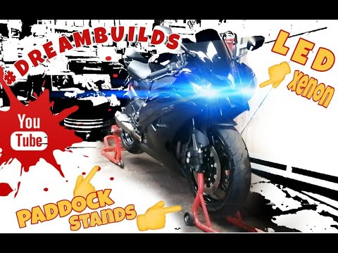 Yamaha R6 LED XENON verlichting, PADDOCK STAND en SEAT COVER monteren! motor problemen! #Dreambuilds