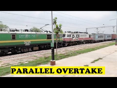 WAG9 WAP5 Container Freight Honks Overtakes Passenger