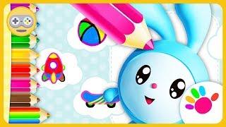 Малышарики Раскраска для детей * Зайчик Крошик - Живые рисунки * мультик игра на Kids PlayBox