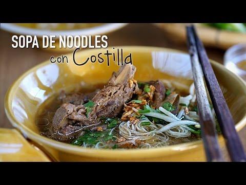 Sopa de noodles con costilla de cerdo - Thai Noodle Soup With Pork Ribs Recipe