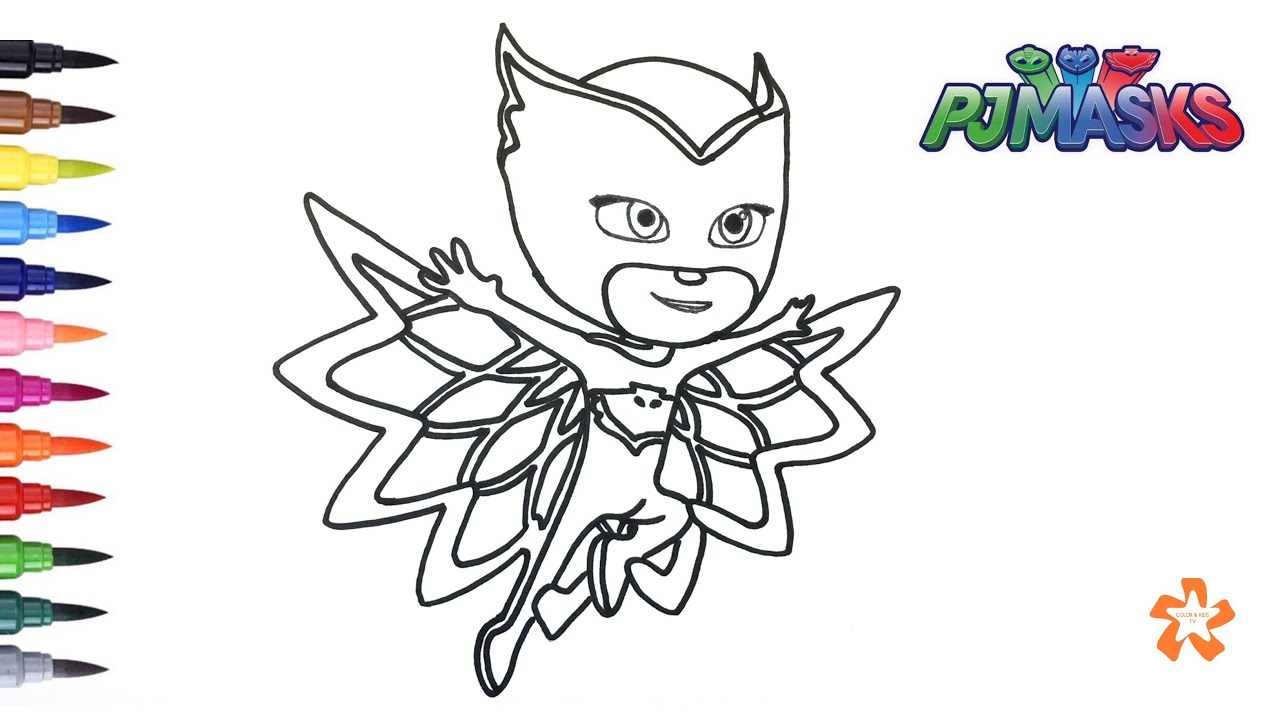Charming PJ Masks   How To Color Owlette   Coloring Pages For Children With Color U0026  Kids TV