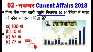 Daily Current Affairs 2 November 2018/Current News in Hindi/railway group d exam #100 आज अक्टूबर dls
