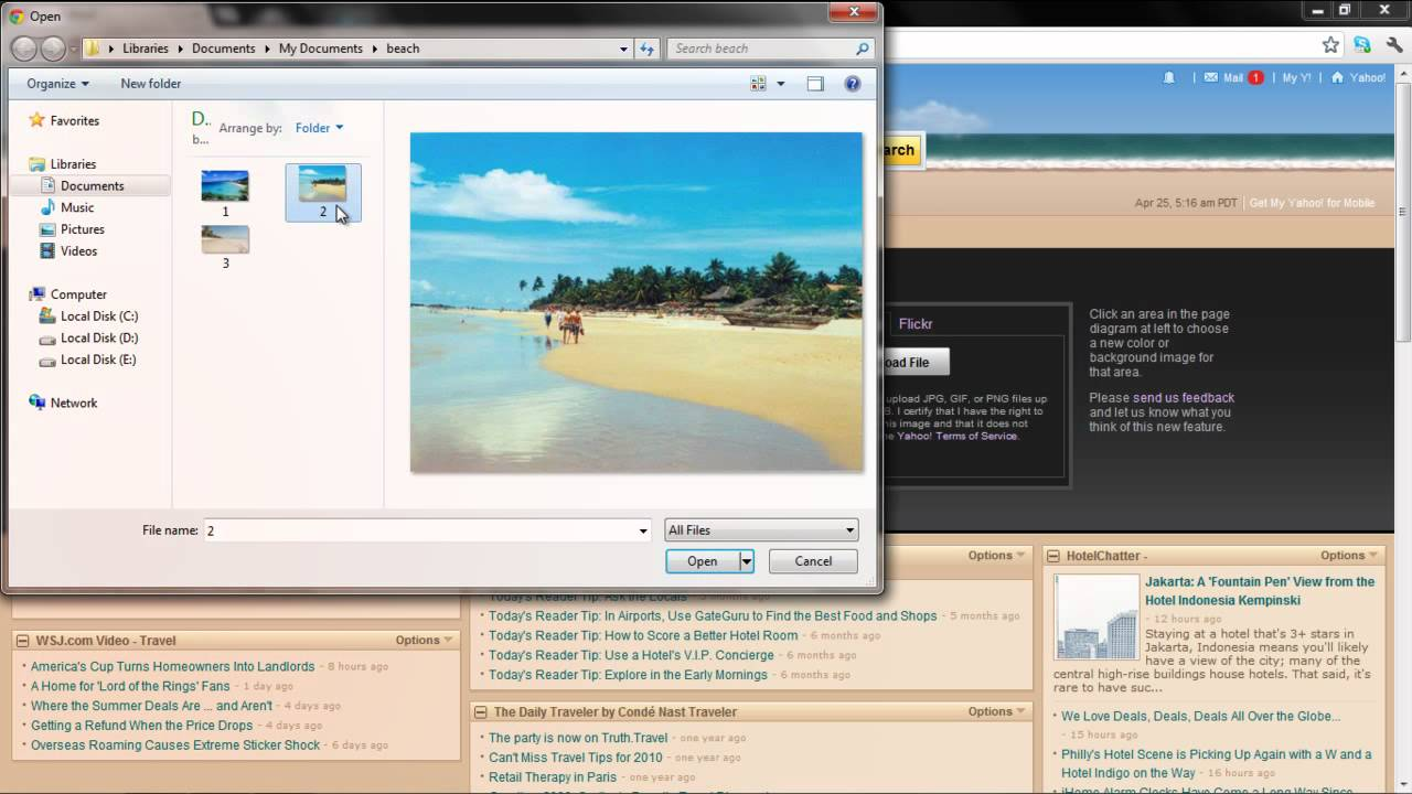 Background image yahoo mail - How To Use Images As Backgrounds In My Yahoo