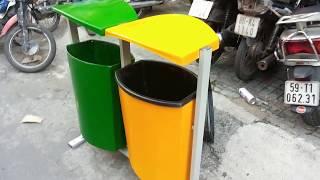 Thùng rác treo đôi hai ngăn phân loại rác bằng composite
